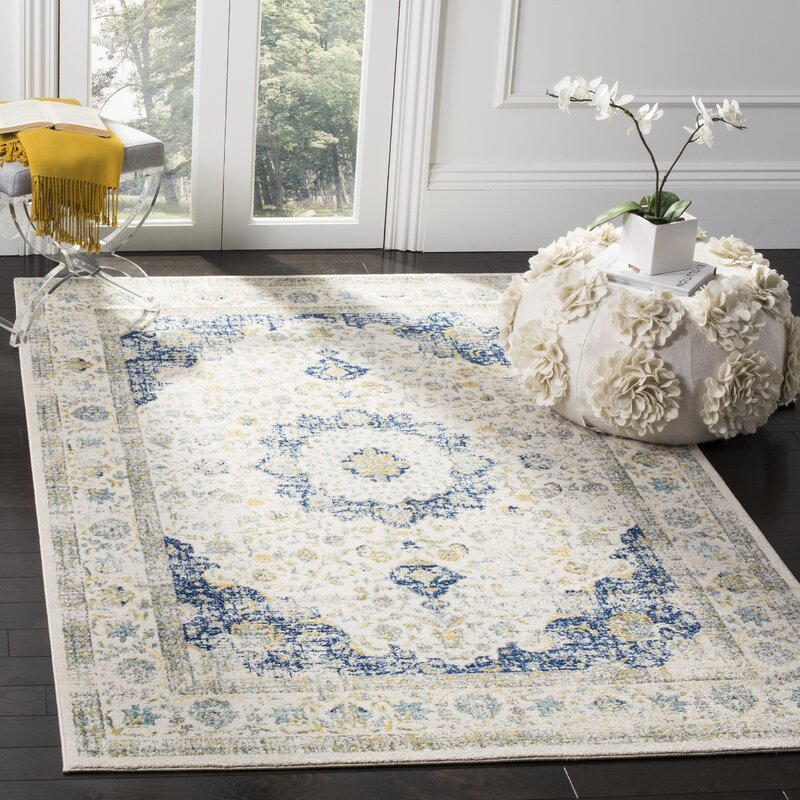 Mistana Elson Ivory Amp Blue Area Rug Amp Reviews Wayfair Ca