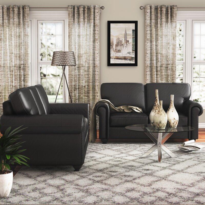 Coggins 2 piece leather living room set reviews birch lane 2 piece leather living room set