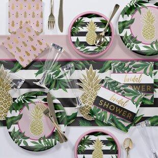 large golden pineapple deluxe paperplastic dinnerdessert bridal shower party kit