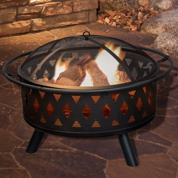 Pure Garden Crossweave Steel Wood Burning Fire Pit