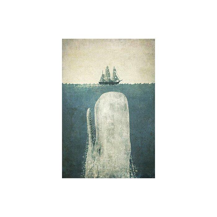 Beachcrest Home  White Whale  Graphic Art Print   Reviews  b1f9a7f61745