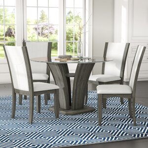 Kangas 5-Piece Glass Top Dinin...