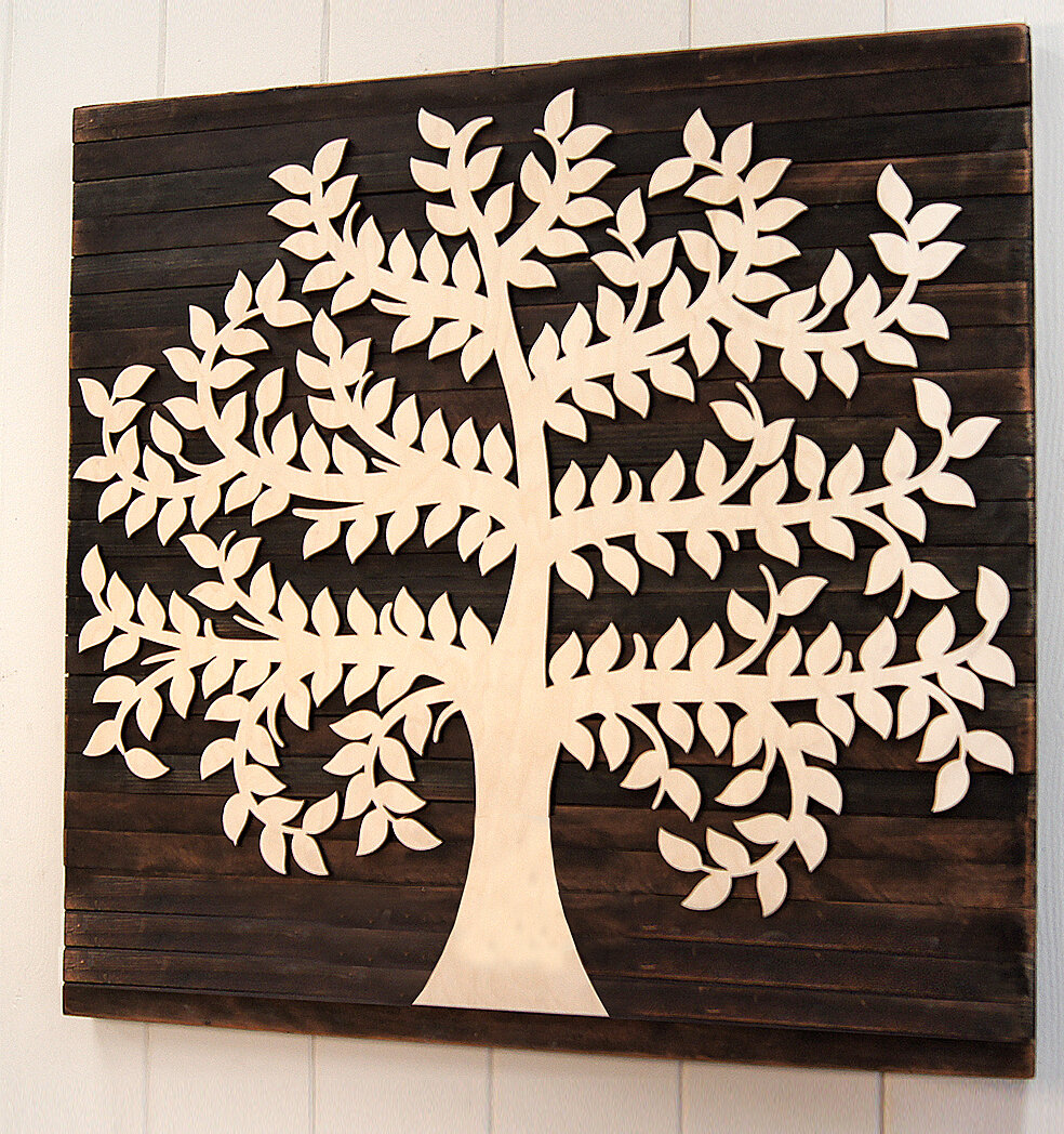 Family Tree Mounted On Wooden Rustic Board Wall Decor