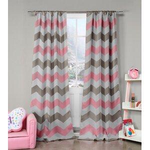 Poppy Chevron Blackout Rod Pocket Curtain Panels (Set of 2)