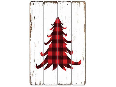 Millwood pines buffalo plaid xmas tree wooden sign wall décor wayfair