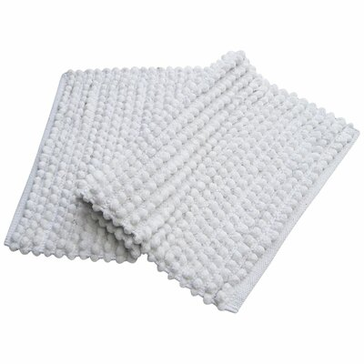 Benzara Pebbles Plush Bath Rug Color: White