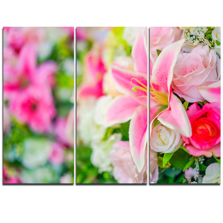 Designart beautiful lily flowers in bouquet 3 piece graphic art on designart beautiful lily flowers in bouquet 3 piece graphic art on wrapped canvas set wayfair izmirmasajfo