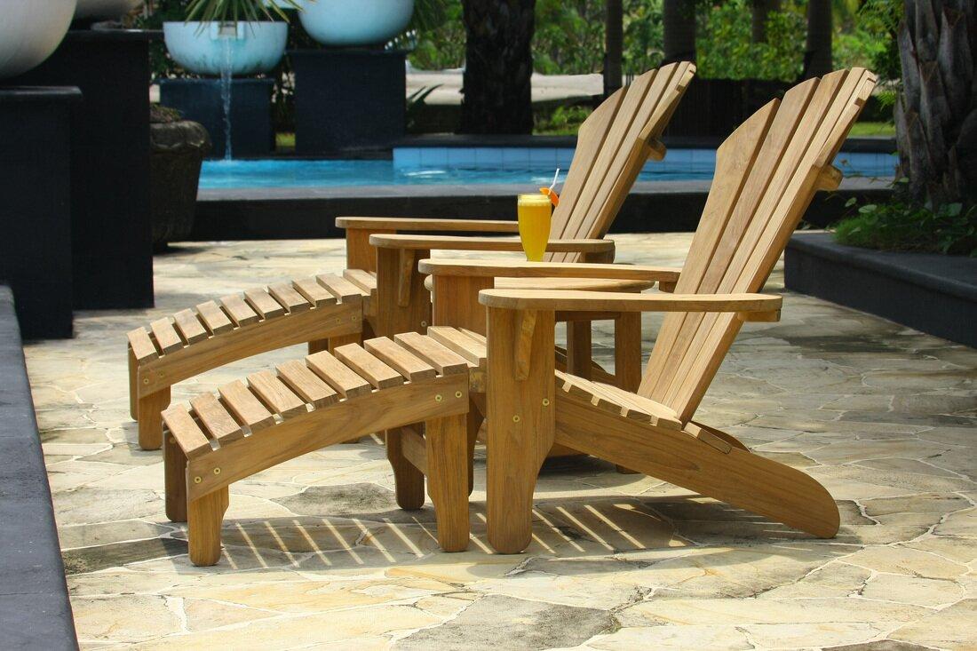 Atlantic Solid Wood Adirondack Chair And Ottoman