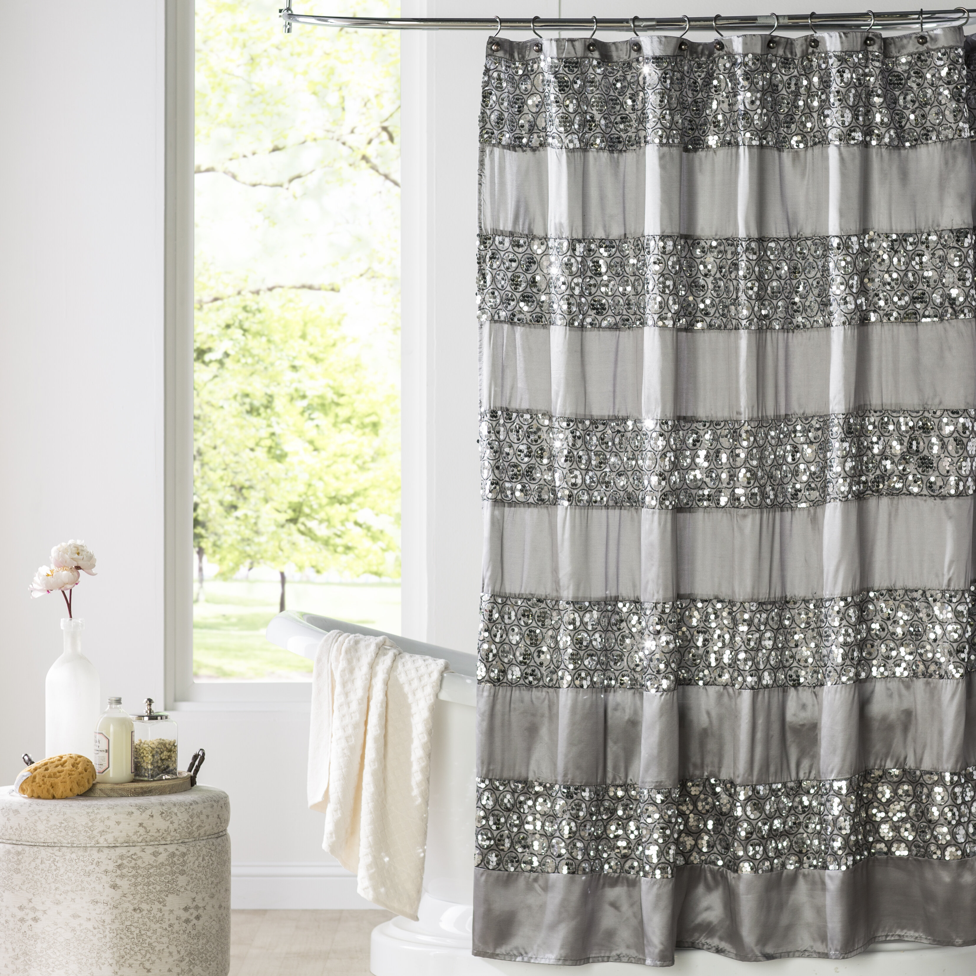 House Of Hampton Brunilda Bedazzled Bling Fabric Single Shower Curtain