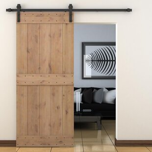 Vertical Slat Primed Sliding Knotty Solid Wood Panelled Alder Slab Interior  Barn Door