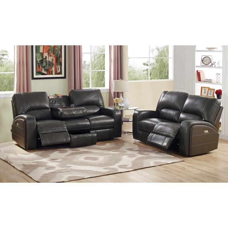 Red Barrel Studio Woodhull Leather 2 Piece Living Room Set