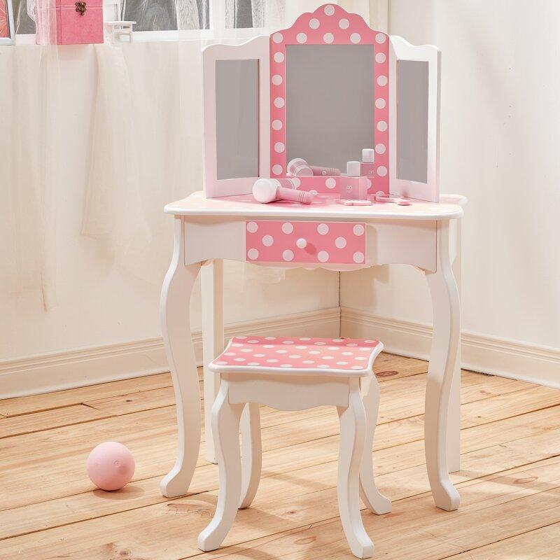 Teamson Kids Children\'s Wooden Vanity Dressing Table Set with Mirror ...
