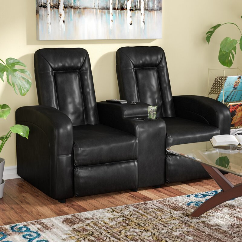 Leather 2 Seat Home Theater Recliner with Storage Console : seat recliner - islam-shia.org