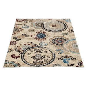 Doreen Decorative Modern Contemporary Southwestern Beige/Black Area Rug