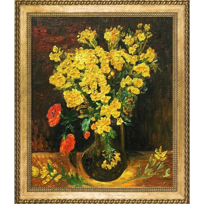 Wayfair & \u0027Vase with Viscaria (Poppy Flowers)\u0027 by Vincent Van Gogh Framed Painting Print