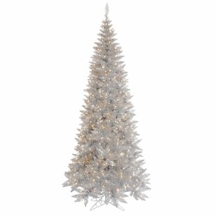 4e073c64fbcf8 7.5' Silver Tinsel Fir Artificial Christmas Tree with 500 Clear/White  Lights with Stand