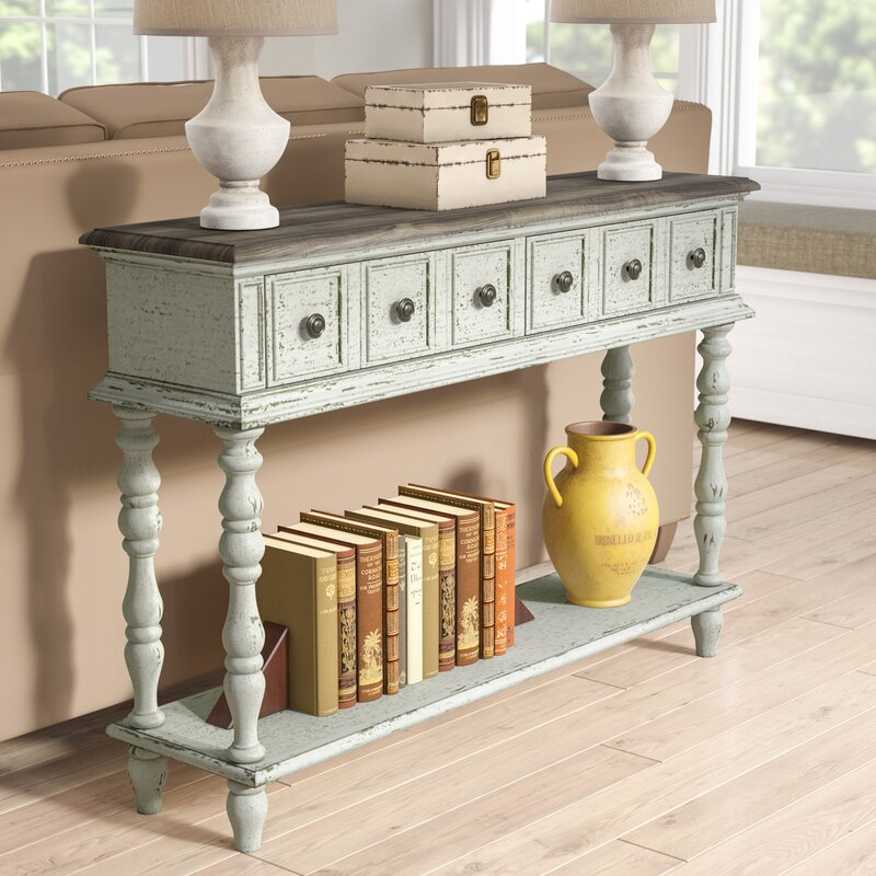 Veronique Two Toned Weathered Console Table