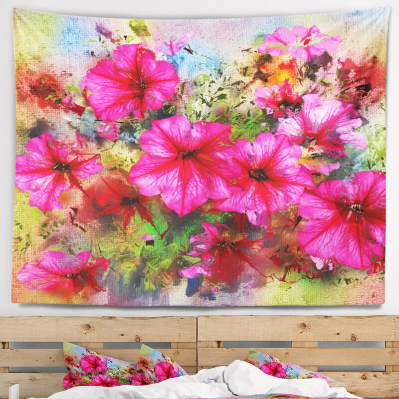 East urban home floral purple flowers composition watercolor floral purple flowers composition watercolor tapestry and wall hanging mightylinksfo