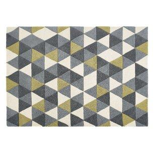 Hand Tufted Wool Ochre/Grey Rug by Langley Street
