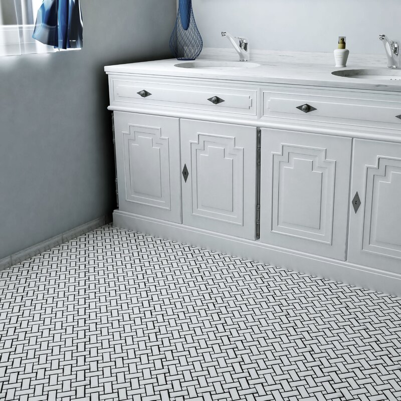 Elitetile Retro Basket Weave Random Sized Porcelain Mosaic Tile In