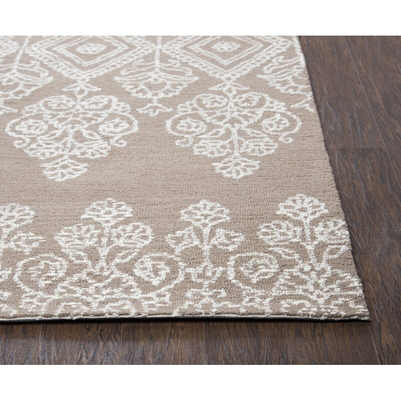 Alcott Hill Avoca Hand-Tufted Beige/White Area Rug, Size: Rectangle 9 x 12