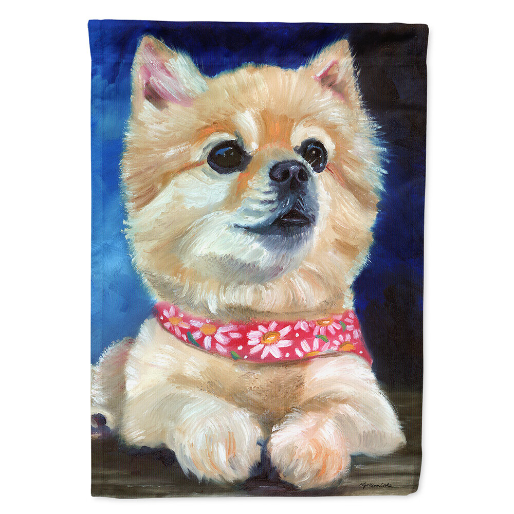 Fancy Bandana Pomeranian Puppy 2-Sided Polyester 3'4 x 2'4 House Flag