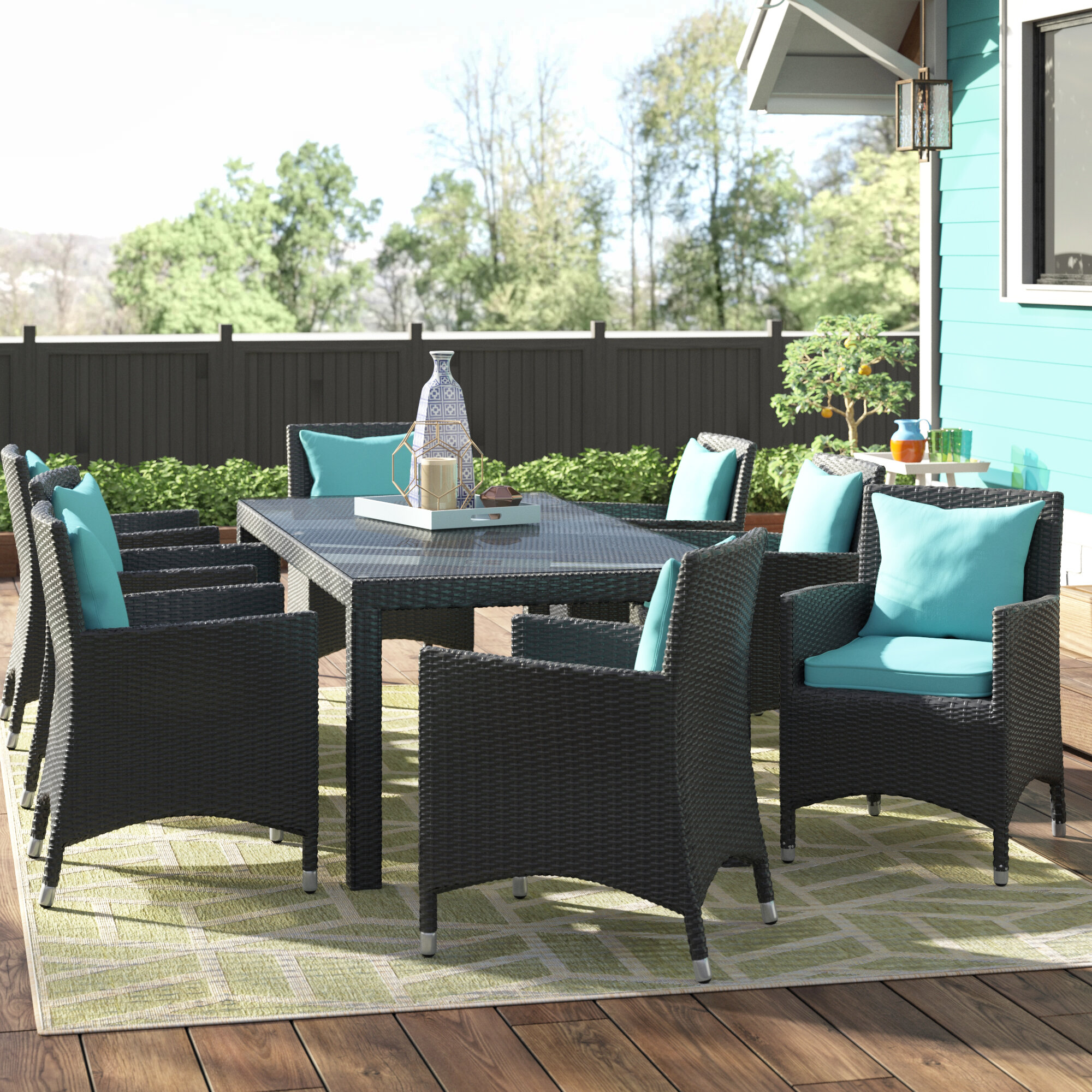 9 piece outdoor dining set dinner latitude run ryele piece outdoor patio dining set with cushions reviews wayfair