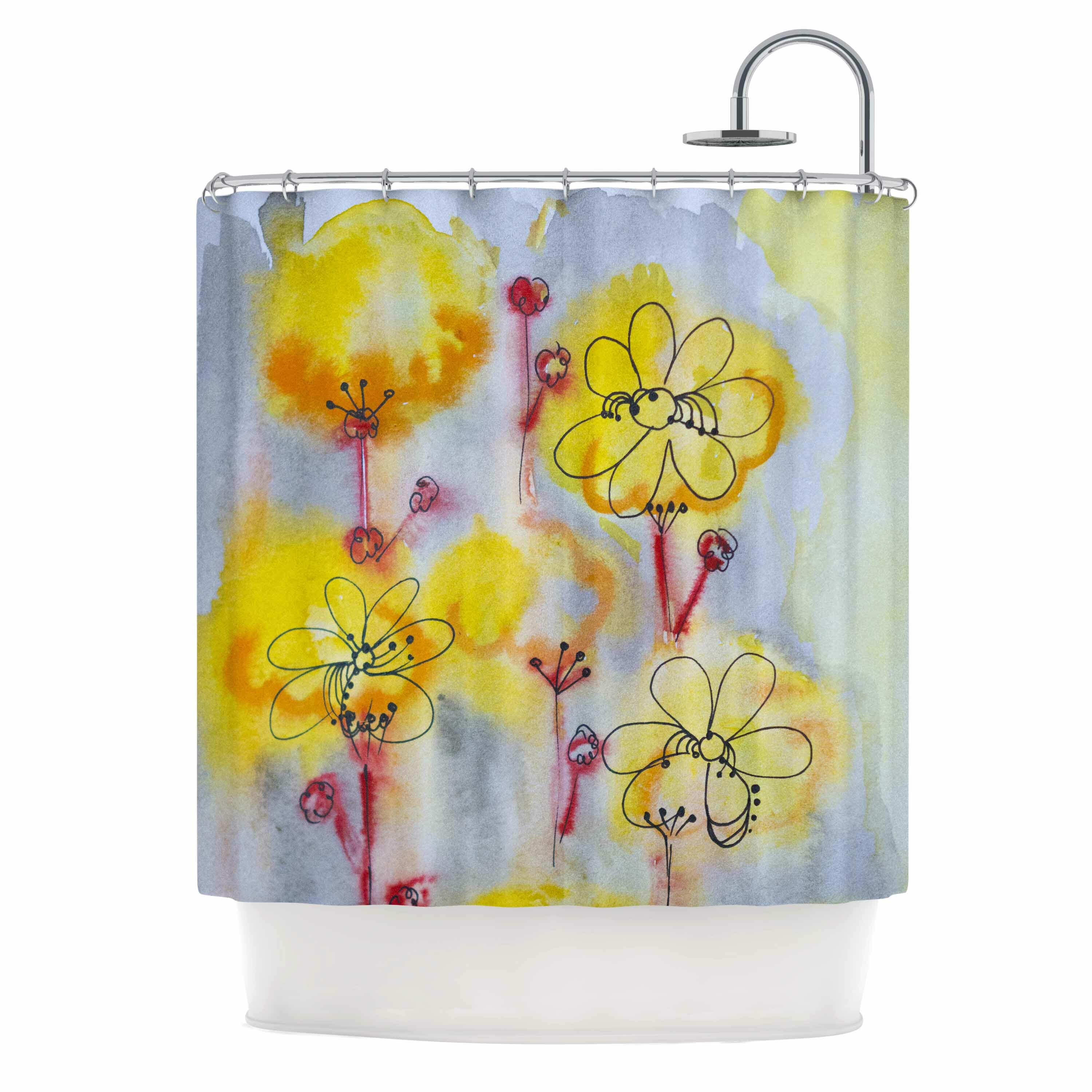 East Urban Home Yellow Flowers Shower Curtain