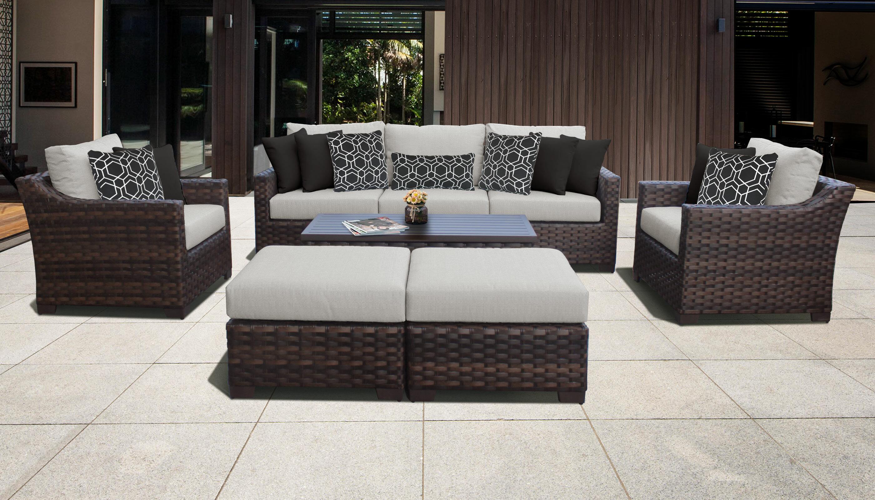 kathy ireland Homes & Gardens River Brook 8 Piece Outdoor Wicker Patio  Furniture Set 08c