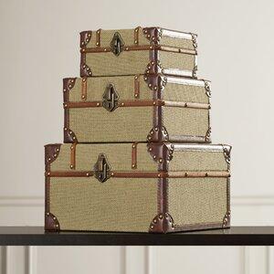 3 Piece Old Look Burlap Travel Trinket Box Set