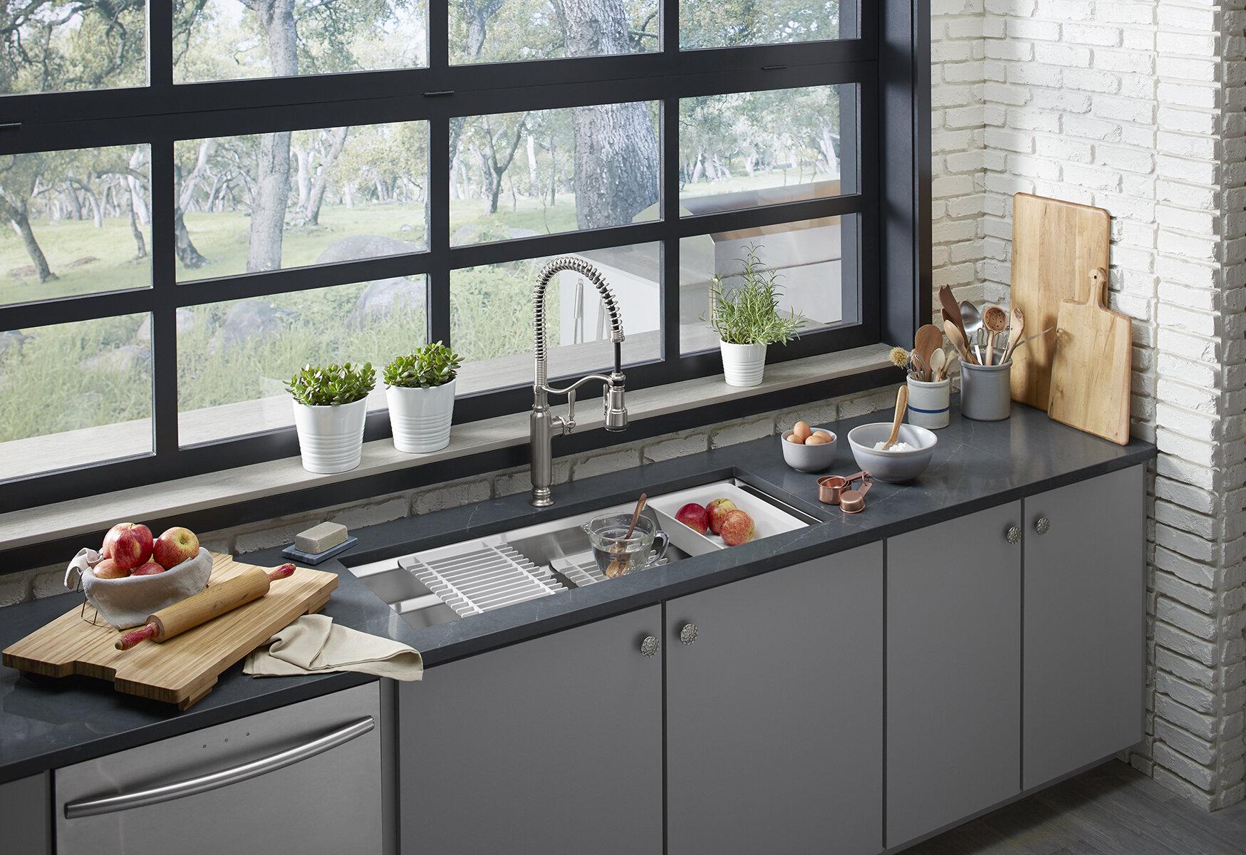 Kohler Prolific 44 In X 18 1/4 In X 10 In Under Mount Single Bowl Kitchen  Sink With Accessories | Wayfair.ca