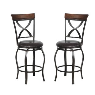 Bobkona Daisy 24 Swivel Bar Stool (Set of 2)