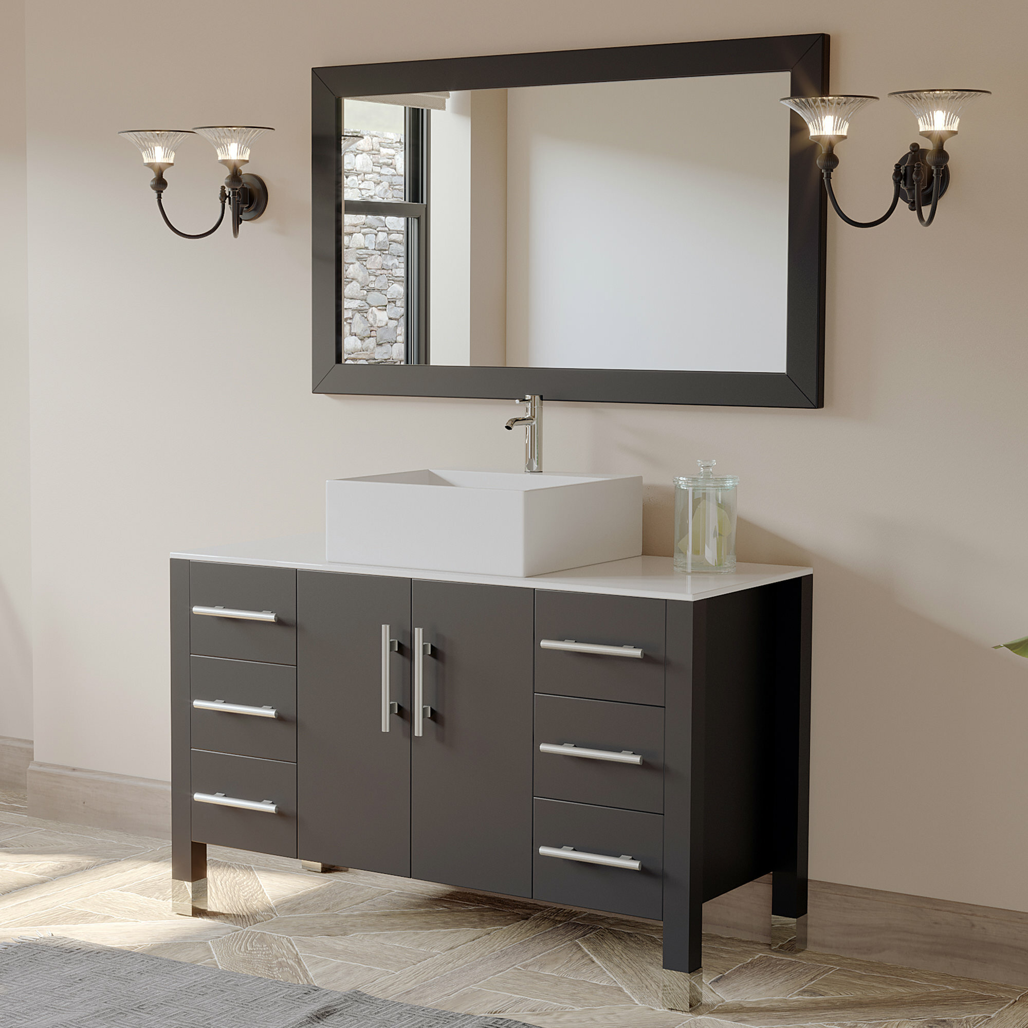"Cambridge Plumbing Magnolia 47"" Single Bathroom Vanity Set with Mirror & Reviews 