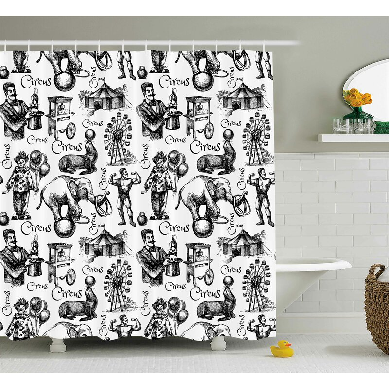 Ebern Designs Jace Circus Magician Theme Shower Curtain