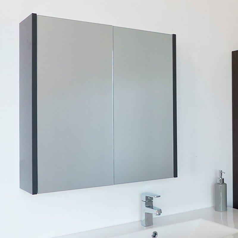 . Caelum Modern Bathroom Mirror 24  x 24  Surface Mount Medicine Cabinet