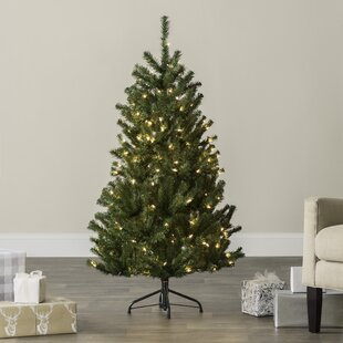 green spruce artificial christmas tree with clearwhite lights - Indoor Decorative Christmas Trees