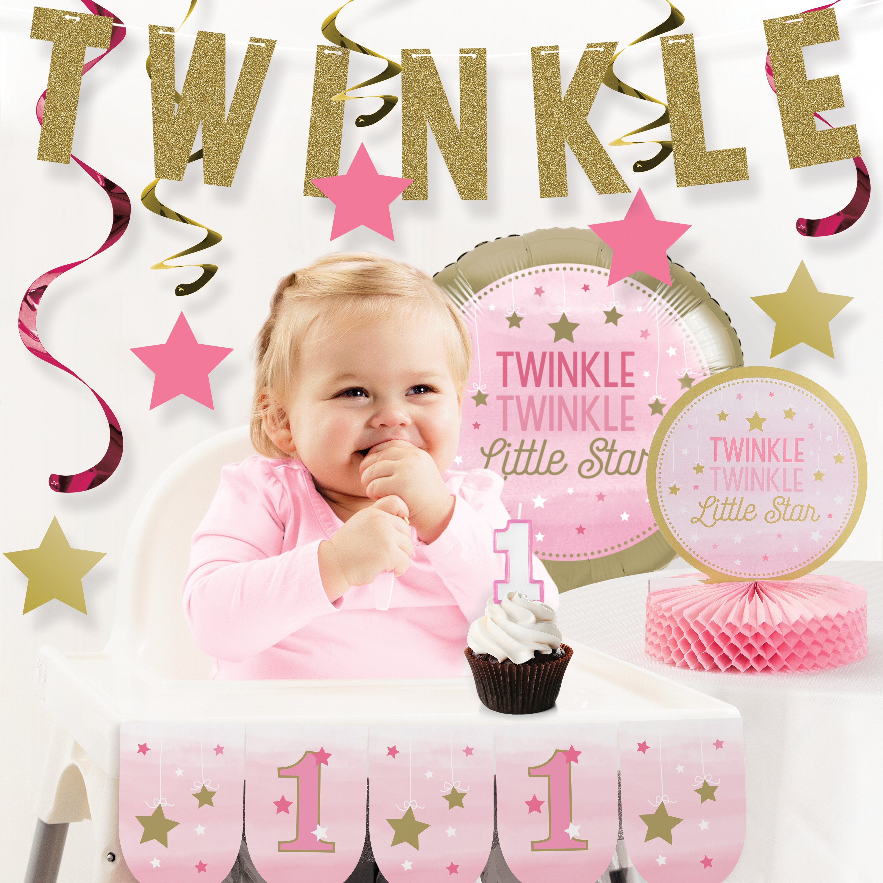 The Party Aisle One Little Star Girl First Birthday Decoration Kit