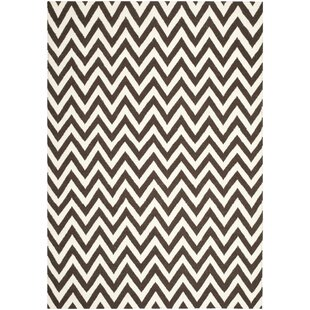 Dhurrie Hand-Woven Wool Brown/Ivory Area Rug by Safavieh
