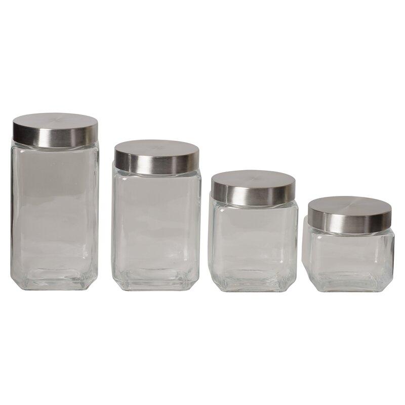 Wayfair Basics 4 Piece Screw Top Glass Kitchen Canister Set