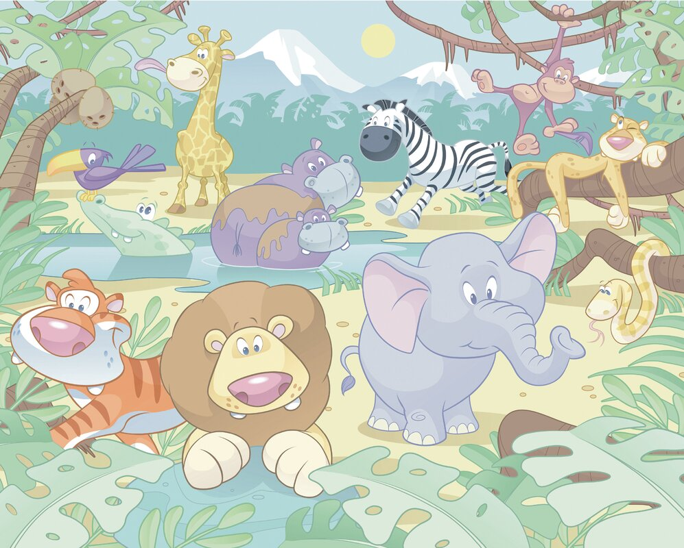 Wallpops walltastic wall art baby jungle safari 10 39 x 96 for Baby jungle safari wall mural