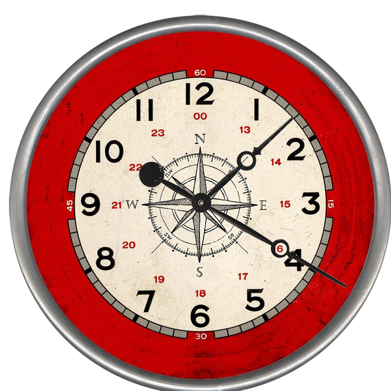 Breakwater Bay Woodsetter Compass Rose Wall Clock Wayfair