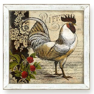 Urban Farmhouse French Country Rooster I by Suzanne Nicoll Framed Graphic Art & French Country Rooster Plates | Wayfair