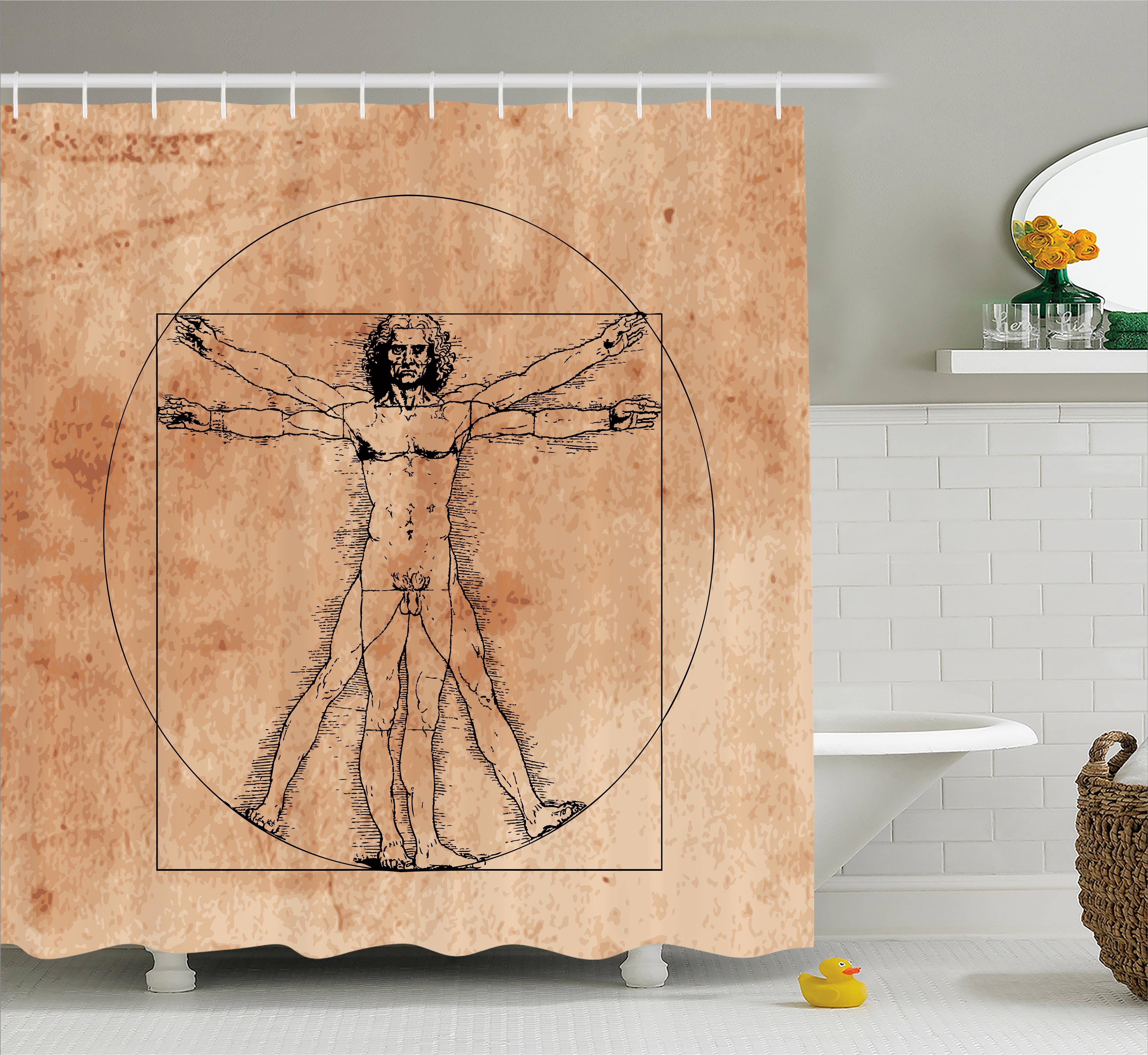 Ambesonne Human Anatomy Medieval Vitruvian Man Crosshatching Famous ...