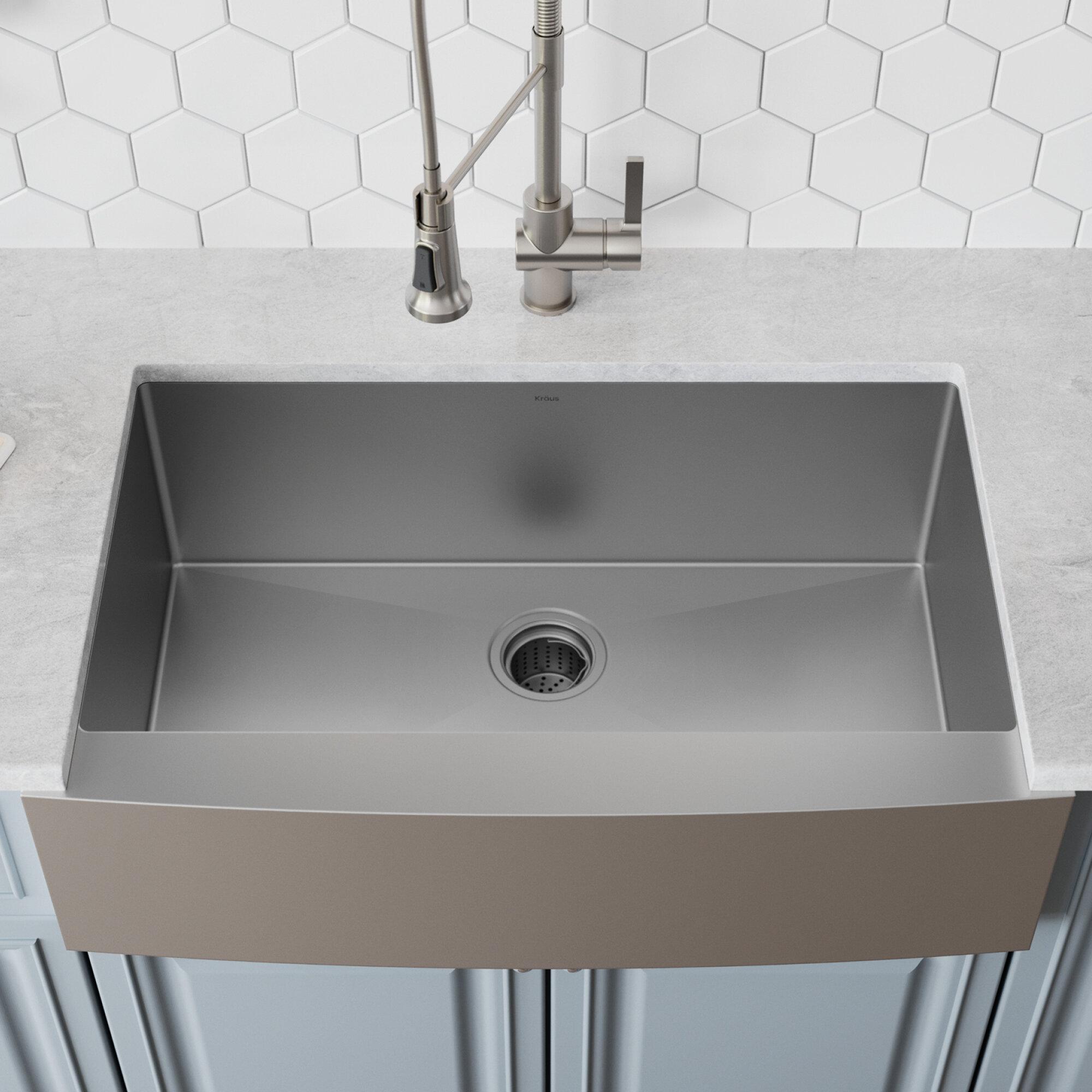 Kraus 33 l x 21 w farmhouse kitchen sink with drain assembly reviews wayfair