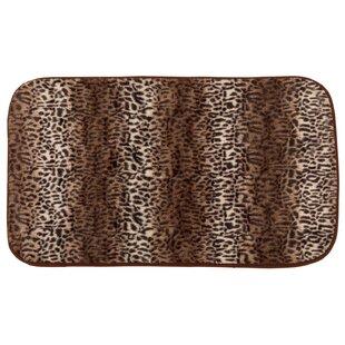 Faux Fur Cheetah Print Cushioned Bath Rug