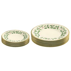 12 Piece Holiday Bone China Plate Set