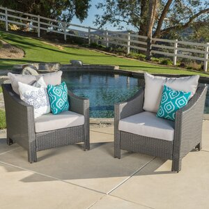 Wolfhurst Wicker Club Chair with Cushion (Set of 2)