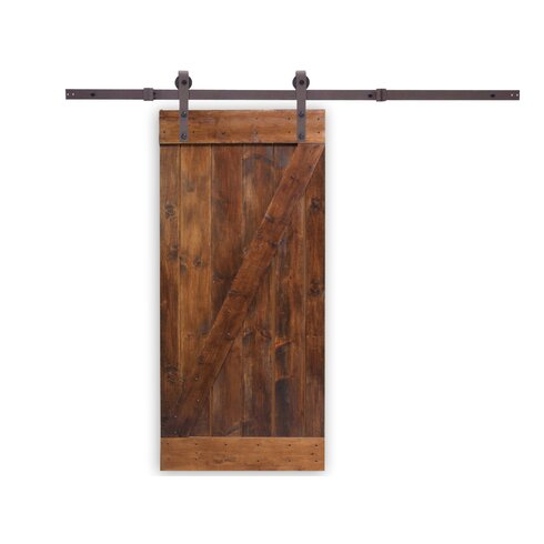 Calhome Knotty Pine Solid Wood Panelled Slab Interior Barn Door