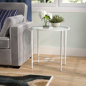 Buloke Metal/Glass Oval End Table