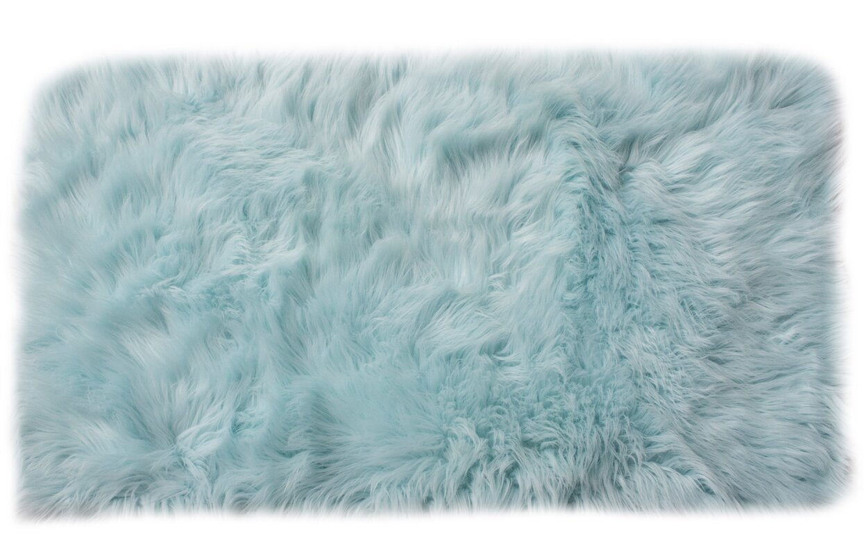 Serene Faux Sheepskin Soft Shag Hand-Woven Light Blue Area Rug - Super Area Rugs Serene Faux Sheepskin Soft Shag Hand-Woven Light